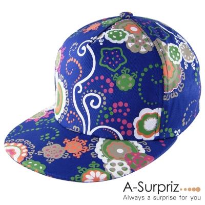 A-Surpriz 繽紛夏日風情印花棒球帽(率真藍_)