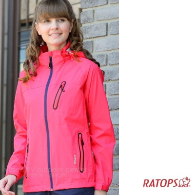 【瑞多仕】女款 2.5 layer 防水透濕夾克_RAW105 櫻紅色 V1