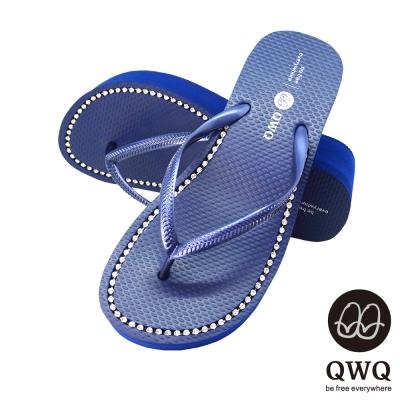 QWQ夾拖的創意(女) - 慛燦面鑽 6cm夾腳拖鞋 - 寶石藍