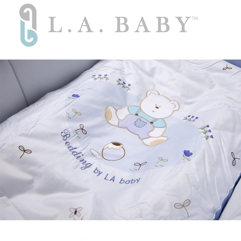 【美國 L.A. Baby】田園巴黎純棉七件式寢具組(M)(藍色)