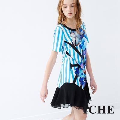 ICHE 衣哲 條紋印花假兩件洋裝