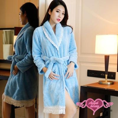 保暖睡袍 戀戀米亞 柔軟珊瑚絨一件式綁帶連身睡衣(藍F) AngelHoney天使霓裳