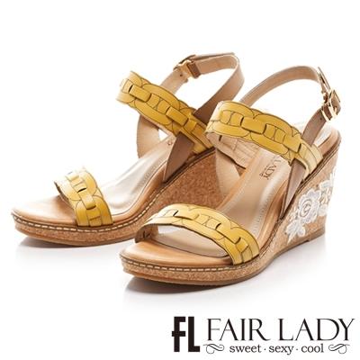 Fair Lady 簡約線條蕾絲點綴楔型涼鞋 黃