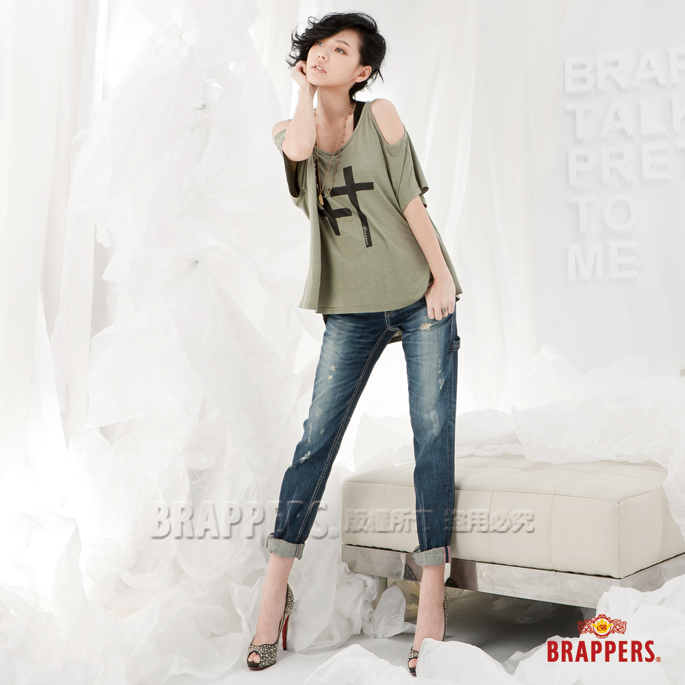 BRAPPERS 女款 小S代言Boy Firend Jeans 系列-女用九分反摺褲-藍