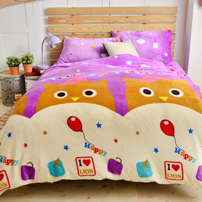Grace Life 快樂貓咪 雙人法蘭絨被套毯鋪棉床包四件組