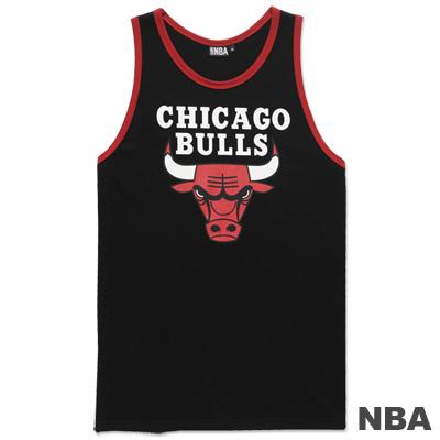 NBA-芝加哥公牛隊運動風長版背心-黑-女