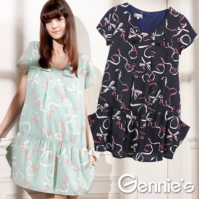 【Gennie's奇妮】優雅輕柔低腰版春夏孕婦洋裝-藍(C1322)