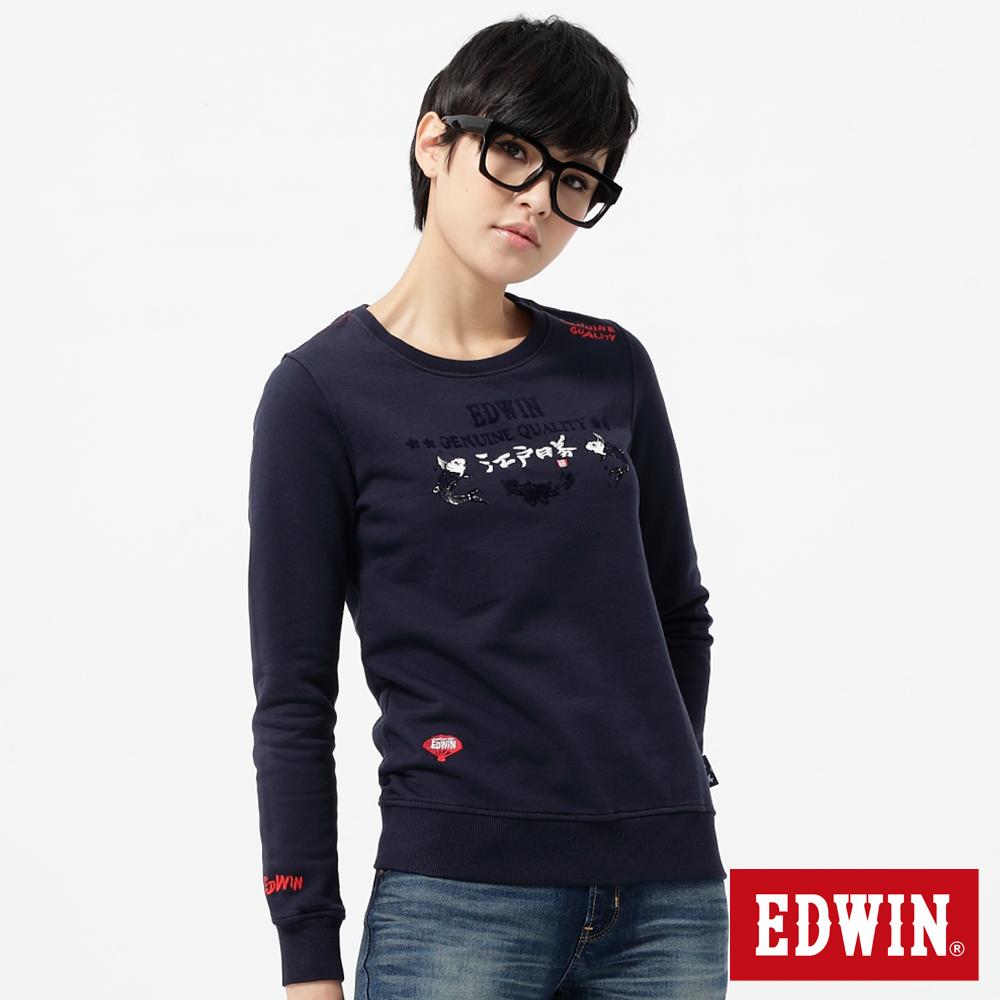 EDWIN T恤 江戶勝限量錦鯉繡花T恤-女-丈青