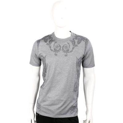 VERSACE 灰色印花圖騰滾邊設計短袖T恤