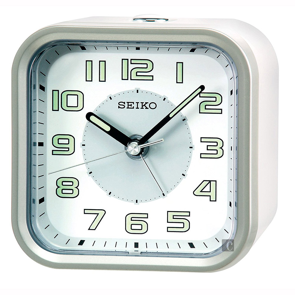 SEIKO精工 大數字嗶嗶聲靜音貪睡鬧鐘(QHE128A)-白/9.4X9.7cm