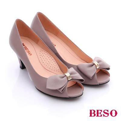 BESO-簡約知性-牛皮素面立體結飾窩心魚口跟鞋-灰