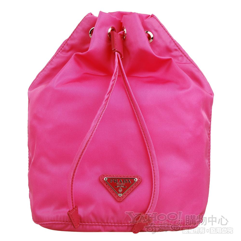 PRADA 經典三角鐵牌尼龍束口造型多功能包/化妝包(桃粉)
