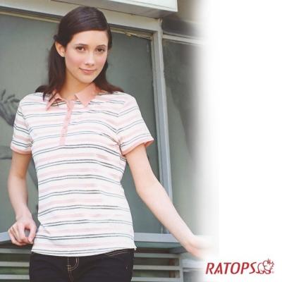【瑞多仕】女款 COOLMAX 細條紋POLO衫_DB7970 米白/桔磚/黑 V1