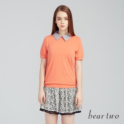 beartwo 衝突感飽和色襯衫領上衣(橘色)