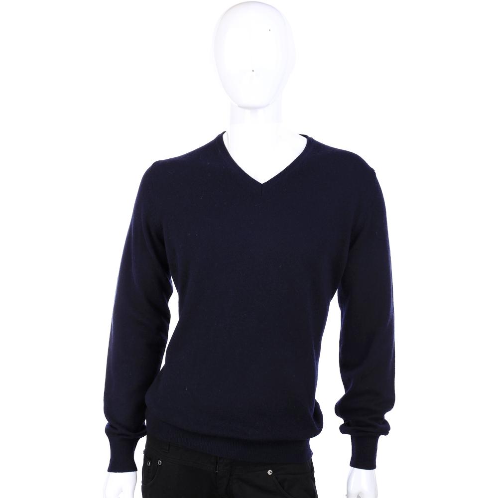 Andre Maurice 深藍色羊毛V領長袖毛衣 (40%CASHMERE)