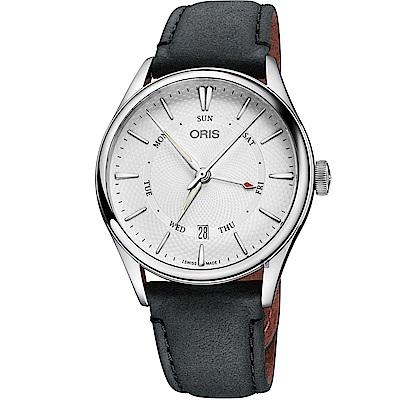 Oris豪利時 Artelier 指針式日曆星期機械錶-銀x黑色錶帶/40mm