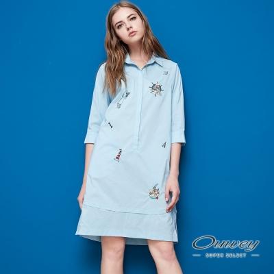 OUWEY歐薇 海洋風圖案刺繡直版洋裝(藍)
