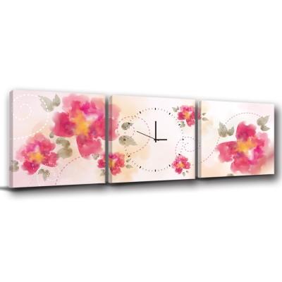 美學365-三聯客製化掛飾壁鐘時鐘畫框無框畫藝術掛畫-典雅-40x40cm