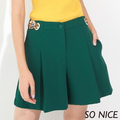 SO NICE都會時尚綠打褶短褲-動態show