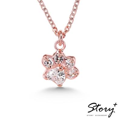 STORY故事銀飾-Pets系列-可愛肉球造型款項鍊-玫瑰金白鑽