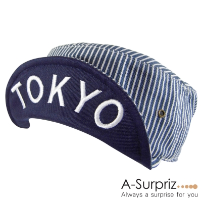 A-Surpriz 摯愛時尚TOKYO反摺帽(藍白紋)