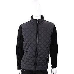 TRUSSARDI 絎縫尼龍黑色立領拼接坑條針織夾克