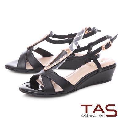 TAS 典雅三角金屬質感T字楔型涼鞋-百搭黑