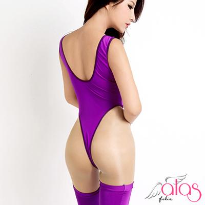 情趣泳衣-純色彈力死庫水-大腿襪-紫色-alas