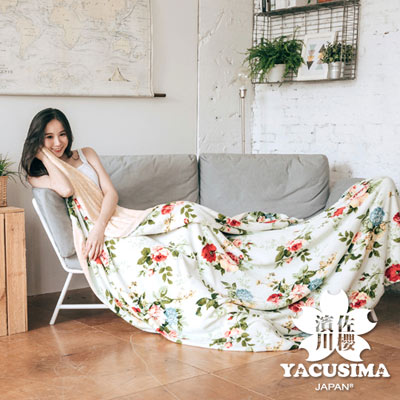 濱川佐櫻-花綻情緣 文青風法蘭絨雙人兩用毯被(6x7尺)