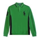 Ralph Lauren 大馬3號滾邊線長袖POLO男衫(綠黑)