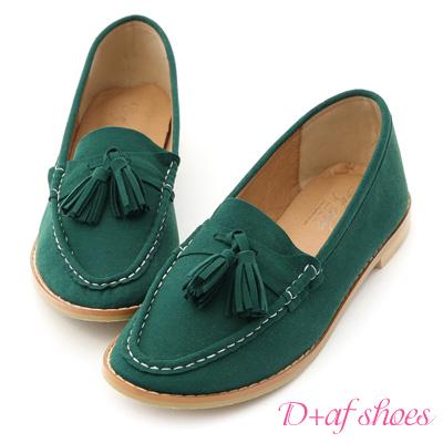 D+AF 好感宣言.小流蘇超軟麂絨樂福鞋*綠