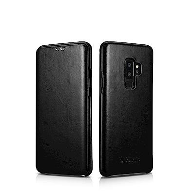 ICARER 復古曲風 SAMSUNG Galaxy S9+ 磁吸側掀手工真皮皮...