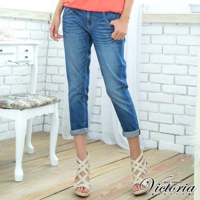 Victoria 雙袋TENCEL男友褲-女-中藍