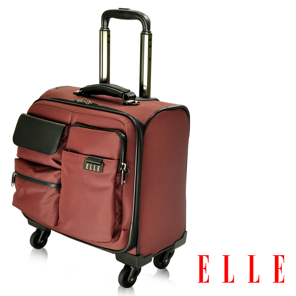 ELLE 火紅皮革IPAD/13吋筆電拉桿登機箱- 酒紅