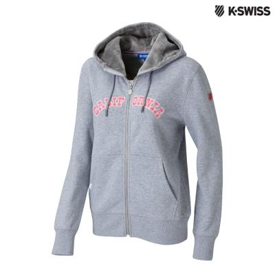K-Swiss Fake Fur Hoodie Jkt休閒連帽外套-女-灰