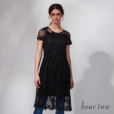 beartwo 微透浪漫蕾絲網紗兩件式洋裝(黑色)
