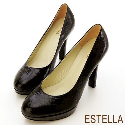 ESTELLA-歐美時尚-MIT牛漆皮鱷魚紋厚底高跟鞋-漆黑