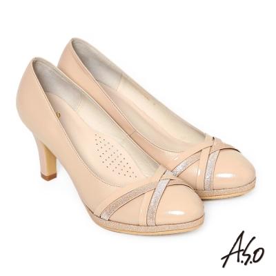A.S.O 優雅美型 真皮交叉窩心高跟鞋 卡其色
