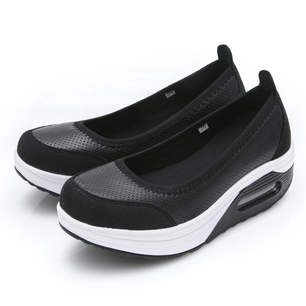 JMS-休閒舒適柔軟輕量厚底懶人鞋-黑色