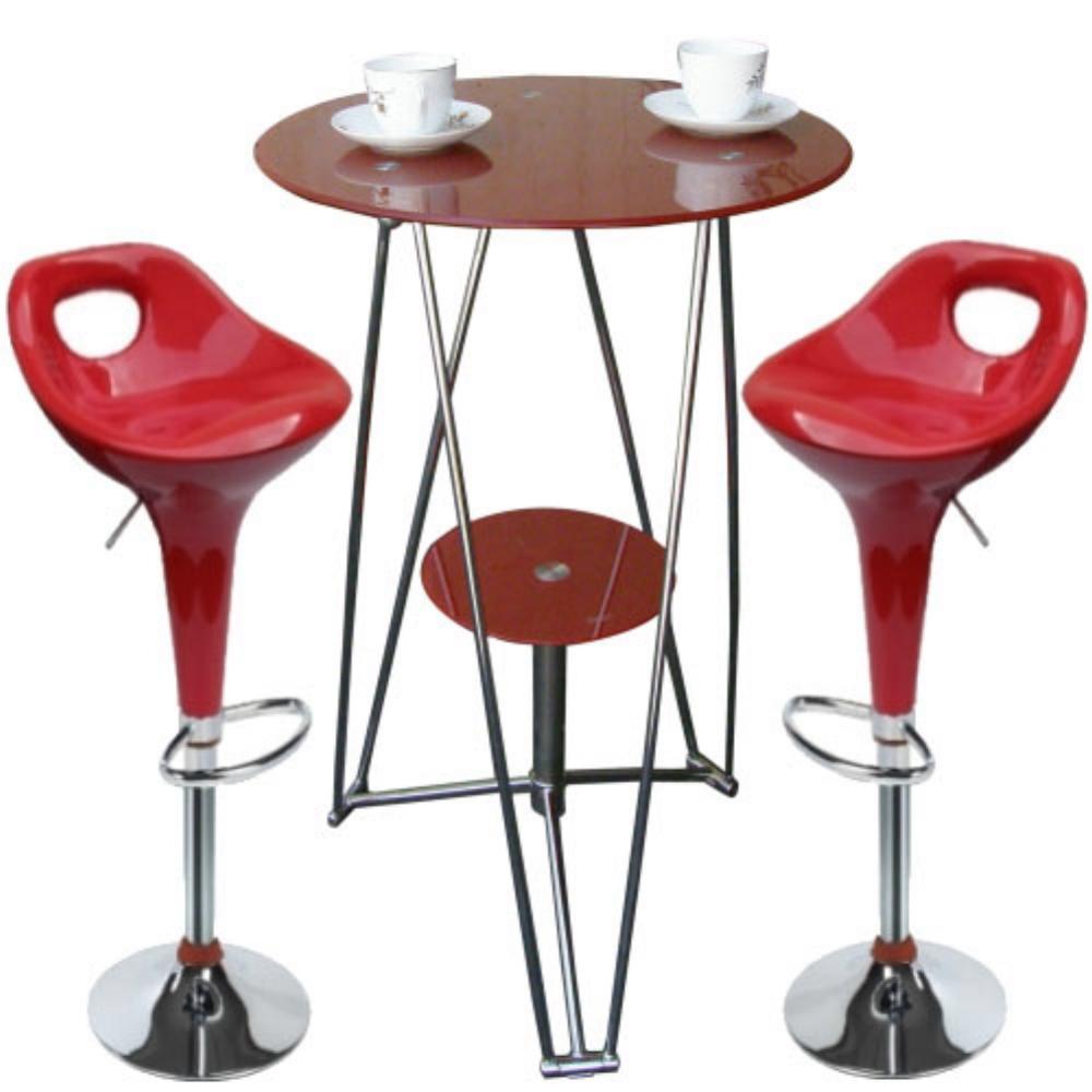 SOHO 精緻時尚高腳吧台桌椅組(1桌2椅)-紅