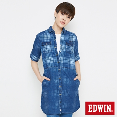 EDWIN 江戶勝 格紋長版牛仔襯衫-女-拔洗藍