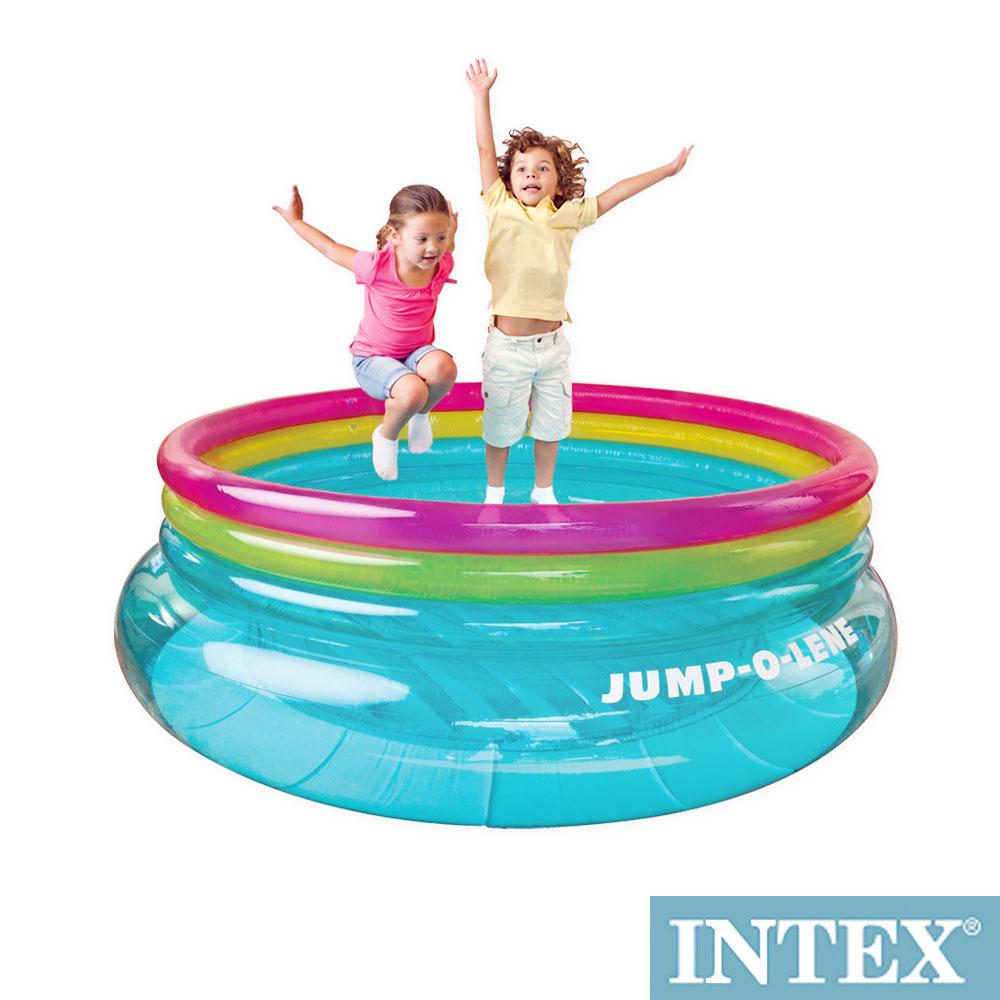 INTEX 兒童圓形三色透明跳跳床/球池-寬203cm (48267NP)