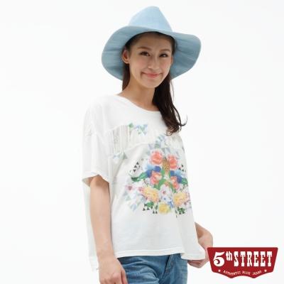 5th STREET T恤 雪紡拼接花卉造型棉T-女-米白