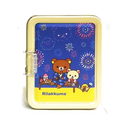 日本拉拉熊夏日煙火兩層名片收納小鐵盒