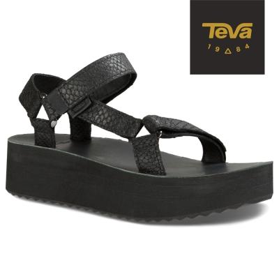 TEVA 美國-女 Flatorm Universal 真皮厚底涼鞋 (蛇紋黑)