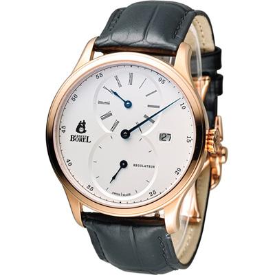 Ernest Borel 依波路 雋永三針一線機械腕錶-玫瑰金色/42mm