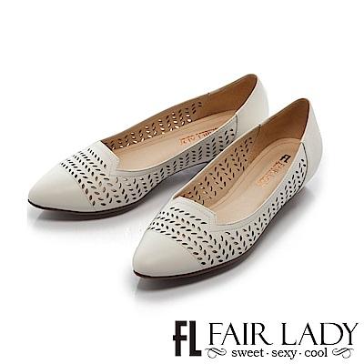 Fair Lady 知性桂冠葉雕花縷空尖頭低跟鞋 白