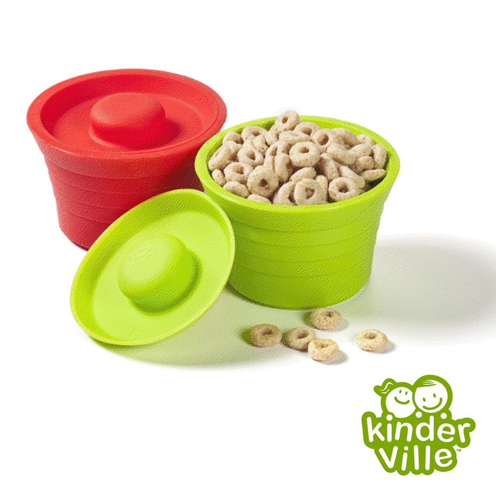 美國 Kinderville 寶寶矽膠小容器(紅色+綠色兩入一組)