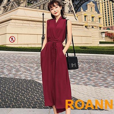 素面V領無袖洋裝 (共二色)-ROANN