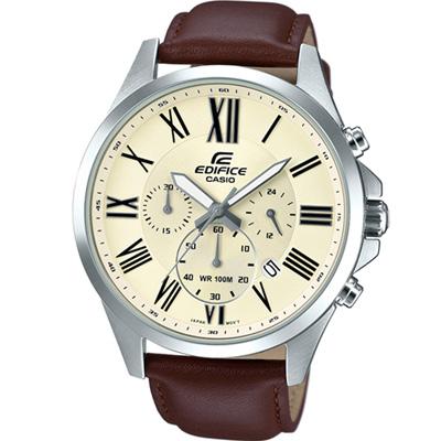EDIFICE 經典三眼設計時尚腕錶(EFV-500L-7A)-米白/48mm